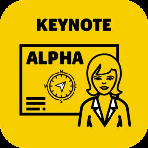 Keynote Speaker Angebot Alpha mit einer Frau als Portrait im Pikto.