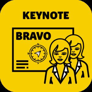 Keynote Speaker Angebot Bravo mit einer Frau als Portrait im Pikto.