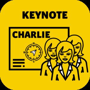 Keynote Speaker Angebot Charlie mit einer Frau als Portrait im Pikto.